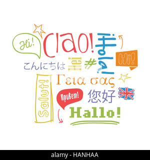 Hello in different languages on white background. Vector illustration. - Stock Photo