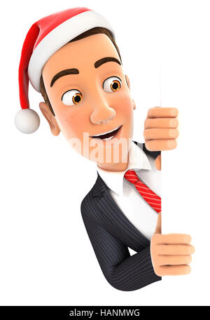 3d businessman with christmas hat peeping over wall, illustration with isolated white background - Stock Photo