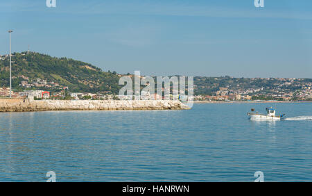 Panoramic view of seafront of San Benedetto del Tronto sea Adriatrico - Ascoli Piceno -Italy - Stock Photo