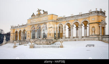 VIENNA, AUSTRIA - JANUARY 15, 2013: Gloriette from gardens of Schonbrunn palace winter. Gloriette was built in year - Stock Photo