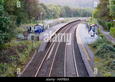 Grindleford, Derbyshire - 24 Sept 2014: Grindleford train station on the Hope Valley Line on 24 Sept in the Peak - Stock Photo