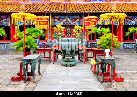 Dynastic urn in The To Mieu Temple in the Hue Imperial city, Hue, Vietnam - Stock Photo