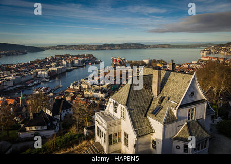Viewpoint from Mount Floyen, Bergen, Norway. - Stock Photo
