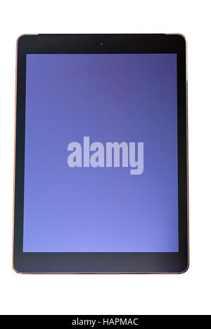 Stylish tablet PC computer with black frame and blank blue screen isolated on white background, copy space, customizable - Stock Photo