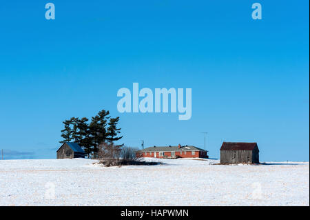 Red Bungalow in Winter - Stock Photo