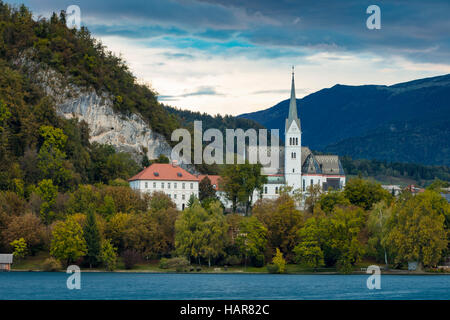 Evening over St Martin's Parish Church along Lake Bled, Bled, Upper Carniola, Slovenia - Stock Photo