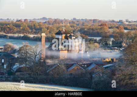 Hook Norton Brewery in the morning frost. Hook Norton, Oxfordshire, England - Stock Photo