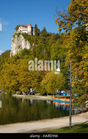 Bled Castle high above Lake Bled, Bled, Upper Carniola, Slovenia - Stock Photo