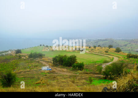 View of the Sea of Galilee from the Mount of Beatitudes, Northern Israel - Stock Photo