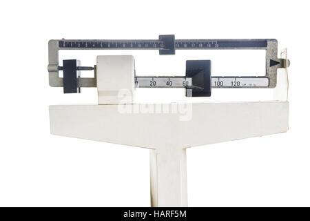 platform scales iron weighing machine isolated on white. - Stock Photo