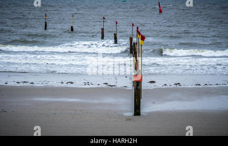Beach posts with flags on top running into sea, Norderney Island, Germany, Europe. - Stock Photo