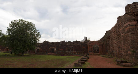 Argentina: ruins of San Ignacio Minì, one of the many missions founded in 1632 by the Jesuits in the Spanish colonial - Stock Photo