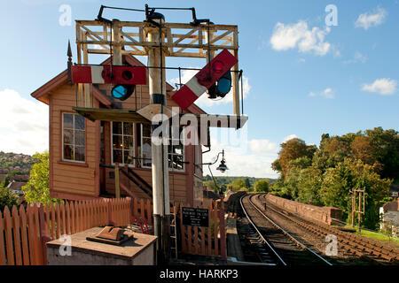 Lower quadrant semaphore signals on the Severn Valley Railway - Stock Photo