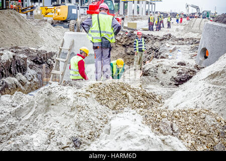 Zrenjanin, Vojvodina, Serbia - May 28, 2015: Assembly process concrete reinforcement housing for drainage waste - Stock Photo