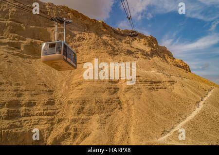 Cable Car at Masada Plateau, Israel - Stock Photo