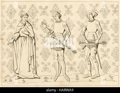 Antique engraving, circa 1860, depicting the 13th century uniforms of a French Religious man and Sergeant at Arms. - Stock Photo