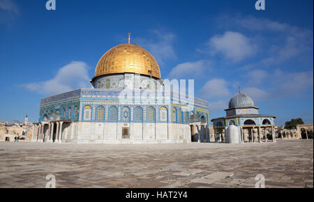 JERUSALEM, ISRAEL - MARCH 5, 2015: The Dom of Rock on the Temple Mount in the Old City. Dome was constructed by - Stock Photo