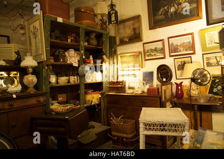 Interior Of Antique Store In Glens Falls, NY.   Stock Photo