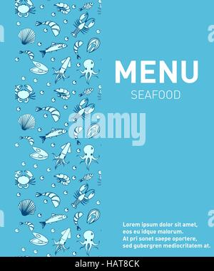 Sea food restaurant menu. Seafood template design, fish dishes. Vector illustration. - Stock Photo