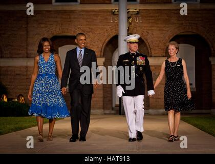 U.S. President Barack Obama and First Lady Michelle Obama walk to the Evening Parade at the Marine Barracks Washington - Stock Photo