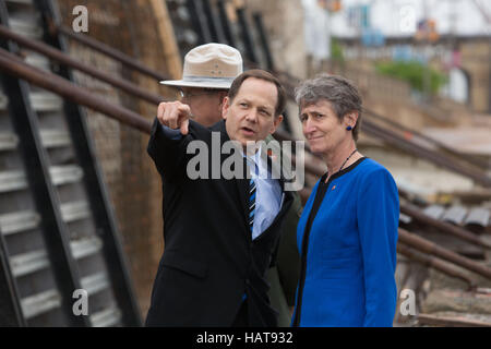 St. Louis Mayor Francis Slay and U.S. Secretary of the Interior Sally Jewell tour a construction project at the - Stock Photo