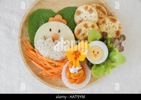 Easter chick lunch, fun food art for kids - Stock Photo