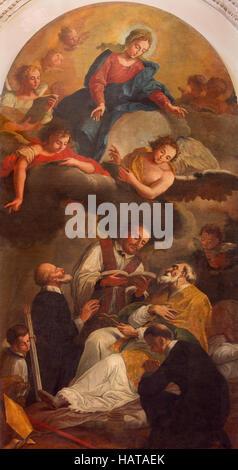 BRESCIA, ITALY - MAY 22, 2016: The painting The Death of St. Nicholas of Bari in church Chiesa di Santa Maria dei - Stock Photo