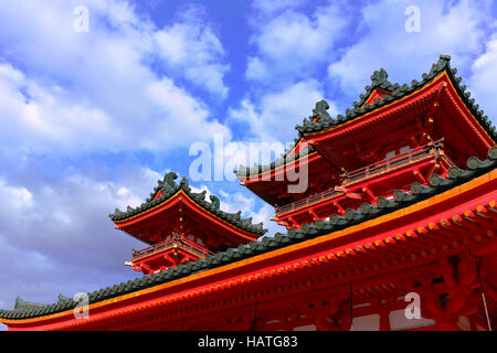 This temple, located in Kyoto, Japan, is iconic of those found around Japan with its colorful and traditional facade. - Stock Photo