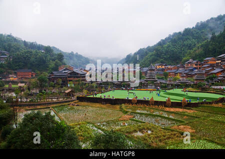 The Zhaoxing Dong Village in Guizhou Province of China is an interesting cultural destination. - Stock Photo
