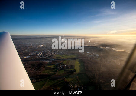 view over the ruhrgebiet out of a plane - Stock Photo