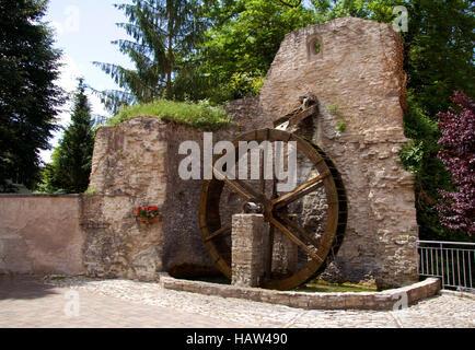 Mill Wheel, Saarwerden, Alsace, France - Stock Photo