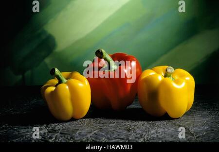 Red and yellow Sweet Capsicum (or bell Capsicum), Capsicum annuum grossum - Stock Photo