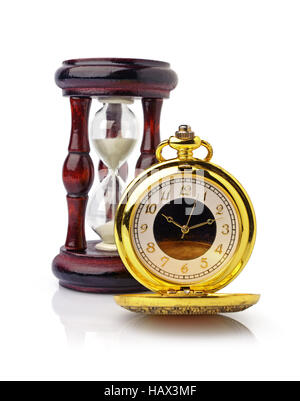 Vintage golden pocket watch and wooden hourglass isolated on white background - Stock Photo