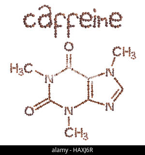 Caffeine chemical molecule structure. The structural formula of caffeine with dark brown coffee beans. - Stock Photo