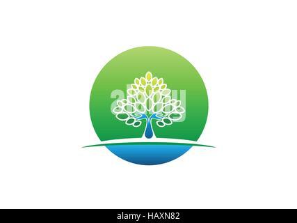 hand tree logo icon, circle health natural tree hand symbol, wellness yoga concept design vector - Stock Photo