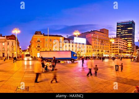 Zagreb central square evening view, capital of Croatia