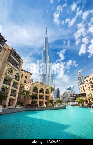 DUBAI FINANCIAL CENTER,UNITED ARAB EMIRATES-FEBRUARY 29, 2016: View on Burj Khalifa (hight 828 m) in Financial center - Stock Photo