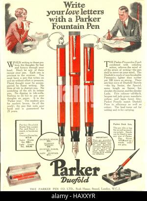 Advertisement for Parker Fountain Pens - Stock Photo