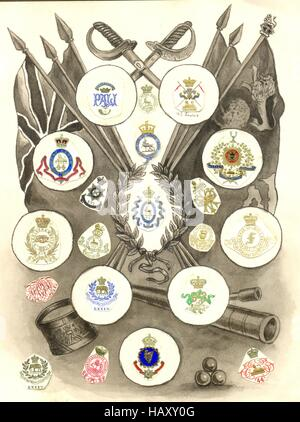 Hand painted page from scrap album showing military crests. - Stock Photo