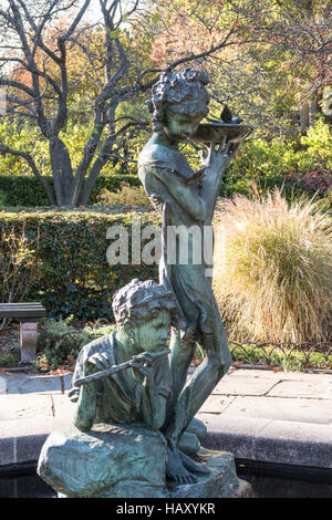 Burnett Fountain in the Conservatory Garden, Central Park, NYC, USA - Stock Photo