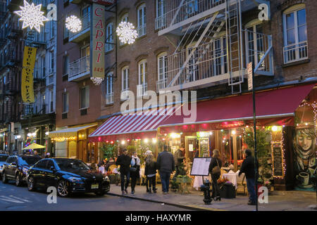 Holiday Season on Mulberry Street at Dusk in Little Italy, NYC - Stock Photo