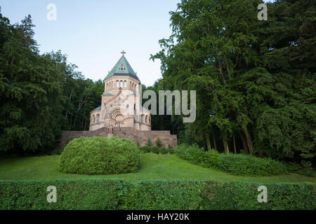 Votive Chapel, site where King Ludwig II of Bavaria was found dead. Lake Starnberg. Upper Bavaria. Germany. - Stock Photo