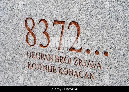 Srebrenica, Potocari Memorial cemetery of 8372 victims - Stock Photo