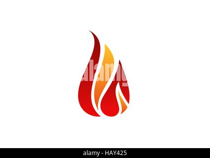 fire, flame, logo, hot fire symbol icon vector design, abstract modern sign symbol red flames logo concept - Stock Photo