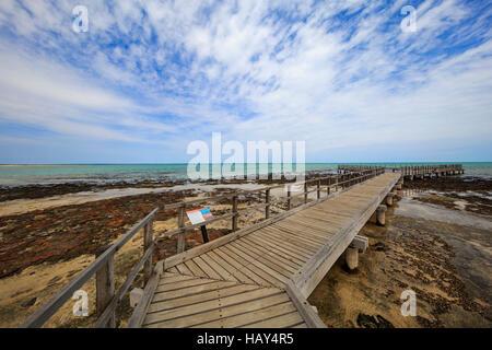 The boardwalk overlooking the stromatolites at Hamelin Pool Marine Nature Reserve. Shark Bay, Western Australia - Stock Photo