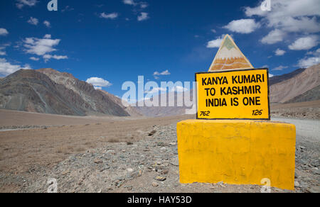 Indian road sign in the Himalayan mountain range, Ladakh, India - Stock Photo