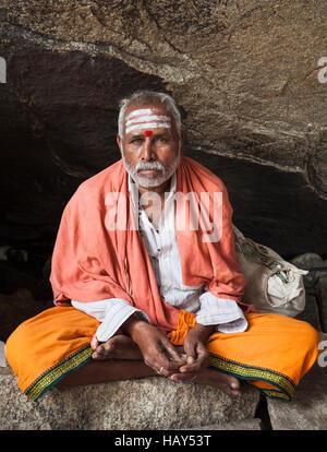 Indian sadhu or holy man. Karnataka, India - Stock Photo
