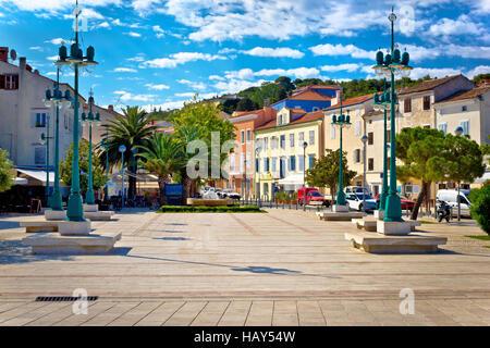 Mali Losinj square colorful architecture, Dalmatia, Croatia - Stock Photo