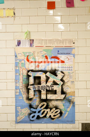 Love written in three languages on a subway map at Union Square subway station as part of the Subway Therapy Walls - Stock Photo