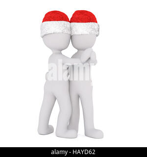 3d couple ballroom dancing in red Santa Claus hats doing the waltz to celebrate Christmas, rendered illustration - Stock Photo